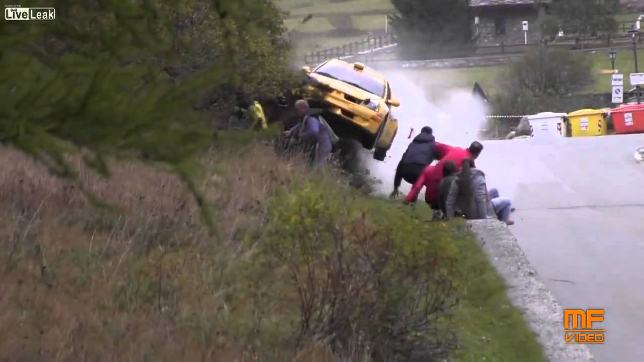 Rally Car Crashes Into Spectators